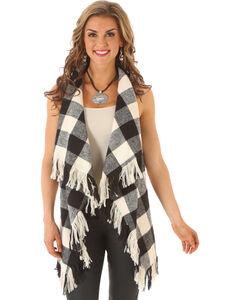 Wrangler Rock 47 Women's Buffalo Check Fringe Vest, , hi-res