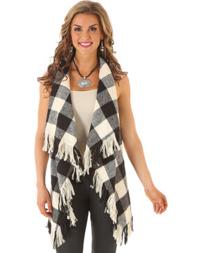 Wrangler Rock 47 Women's Buffalo Check Fringe Vest, Black, hi-res