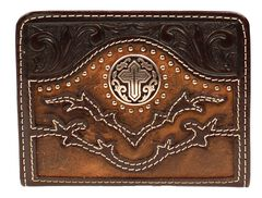 Nocona Tooled Overlay Cutout Studded Cross Concho Bi-Fold Wallet, , hi-res