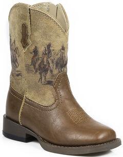 Roper Toddler Boys' Tan Western Rider Cowboy Boots - Square Toe , , hi-res