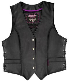 Interstate Leather Braided Vest - Reg, Black, hi-res