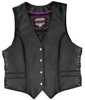 Interstate Leather Braided Vest - Reg, Black, hi-res