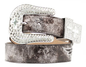 Nocona Snake Print Cross & Wing Inlay Belt, Grey, hi-res