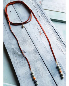 Jewelry Junkie Women's African Turquoise Lariat Necklace , , hi-res
