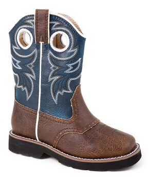 Roper Toddler Boys' Saddle Vamp Cowboy Boots - Square Toe, Brown, hi-res