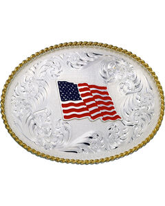 Montana Silversmiths American Flag Oval Buckle, , hi-res