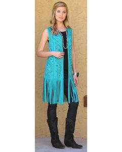 Wrangler Women's Laser Cut Fringe Faux Suede Vest, , hi-res