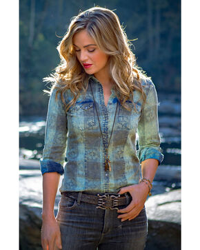 Ryan Michael Women's Hemlock Buffalo Plaid Shirt , Blue, hi-res