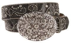Nocona Hair-On-Hide Embellished Buckle Belt, , hi-res