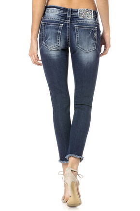 Miss Me Women's Frayed Cuff Skinny Jeans, Denim, hi-res