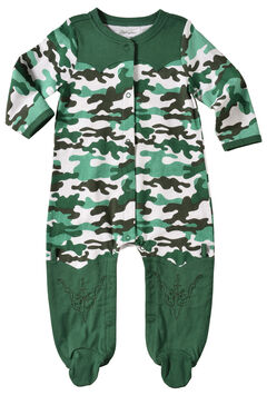 Wrangler Infant Boys' Long Sleeve Green Camo Footed Romper, , hi-res