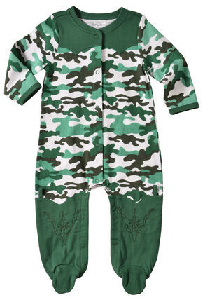 Wrangler Infant Boys' Long Sleeve Green Camo Footed Romper, Green, hi-res