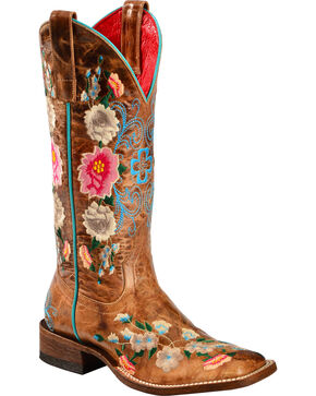 Anderson Bean Boots Macie Bean Rose Garden Cowgirl Boots - Square Toe, Honey, hi-res
