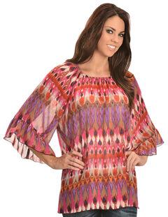 Wrangler Rock 47 Women's Ruffle Sleeve Elastic Neck Chiffon Shirt, , hi-res