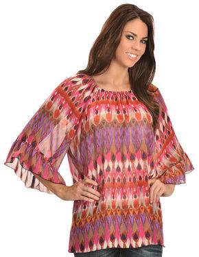 Wrangler Rock 47 Women's Ruffle Sleeve Elastic Neck Chiffon Shirt, Multi, hi-res