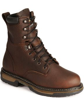 "Rocky 8"" IronClad Waterproof Work Boots - Steel Toe, Bridle Brn, hi-res"
