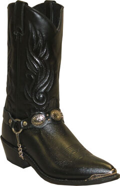 Sage by Abilene Black with Concho Strap Western Boots, , hi-res