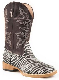 Roper Girls' Glittery Zebra Print Cowgirl Boots - Square Toe, , hi-res