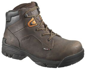 "Wolverine Merlin Waterproof 6"" Lace-Up Work Boots - Composition Toe, Brown, hi-res"