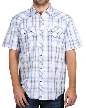 Moonshine Spirit Men's White Plaid Short Sleeve Shirt , White, hi-res