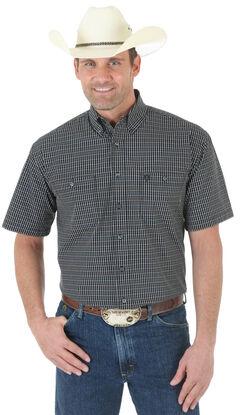 Wrangler George Strait Black Plaid Poplin Western Shirt , , hi-res