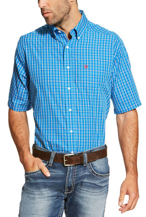 Ariat Men's Blue Irvine Short Sleeve Shirt , Blue, hi-res