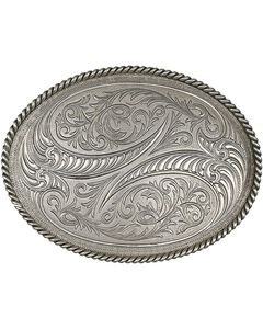 Montana Silversmiths Special Edition Antiqued Engraved Etched Horns Buckle, , hi-res
