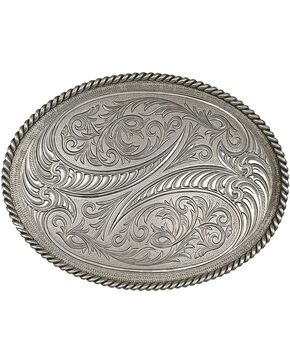 Montana Silversmiths Special Edition Antiqued Engraved Etched Horns Buckle, Silver, hi-res