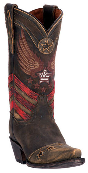 Dan Post Distressed Brown N'Dependence Cowgirl Boots - Snip Toe , Brown, hi-res