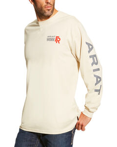 Ariat Men's Sand FR Logo Crew Neck Long Sleeve Shirt - Big, Sand, hi-res