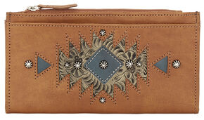 American West Women's Tan Foldover Snap Closure Wallet , Tan, hi-res