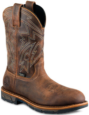 Red Wing Irish Setter Distressed Brown Marshall Work Boots - Steel Toe , Brown, hi-res