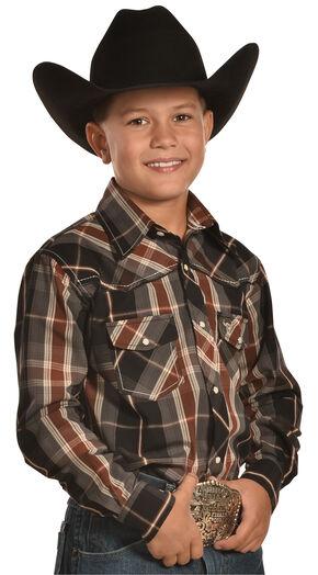 Cowboy Hardware Gun Metal Grey Plaid Western Snap Shirt , Brown, hi-res