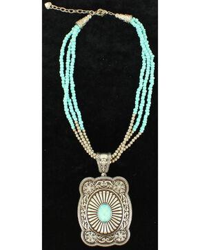 Blazin Roxx 3-Strand Turquoise Beads Pendant Necklace, Silver, hi-res