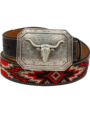 Ariat Men's Starburst Longhorn Fabric Belt , Black, hi-res