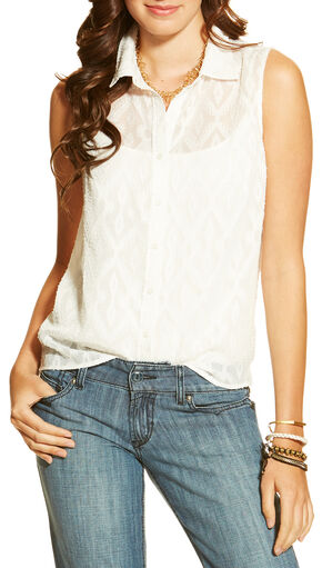 Ariat Women's Iwer Sleeveless Shirt, White, hi-res
