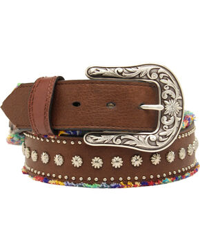 Blazin Roxx Studded Frayed Fabric Belt, Brown, hi-res