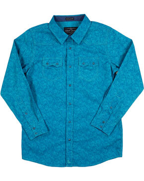 Cody James Boys' Paisley Long Sleeve Shirt, Turquoise, hi-res