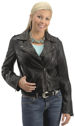 Scully Studded Collar Leather Jacket, , hi-res