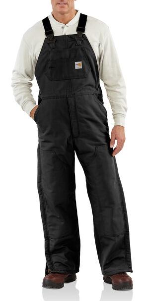 Carhartt Men's Flame-Resistant Duck Quilt-Lined Bib Overalls - Big & Tall, Black, hi-res