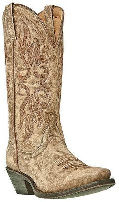 Laredo Crackle Goat Skin Cowgirl Boots - Square Toe, Tan, hi-res
