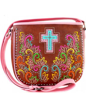Montana West Spiritual Collection Cut Out Pattern with Embroidery Crossbody Bag, Pink, hi-res