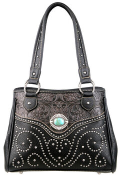 Montana West Trinity Ranch Black Tooled Design Handbag, , hi-res