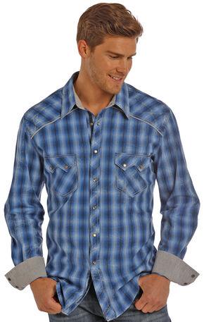 Rock & Roll Cowboy Men's Blue Satin Ombre Plaid Shirt , Blue, hi-res