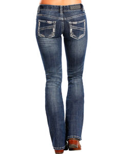 Rock & Roll Cowgirl Women's Medium Wash Low Rise Boot Cut Jean, , hi-res