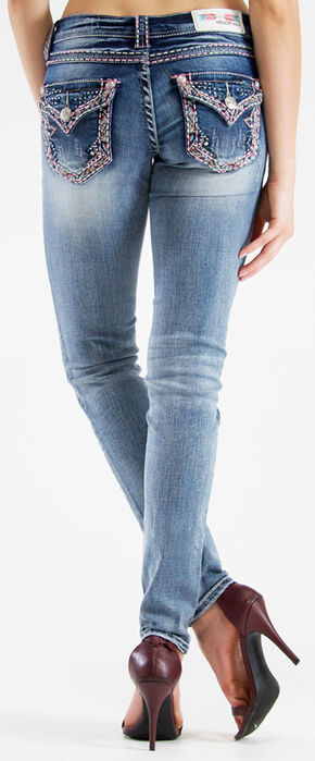 Grace in LA Women's Dark Wash Diamond Cross Skinny Jeans  , Indigo, hi-res