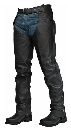 Interstate Leather Rock Riding Chaps - 2XL and 3XL, Black, hi-res