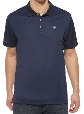 Ariat Navy Tek Polo Shirt, Navy, hi-res