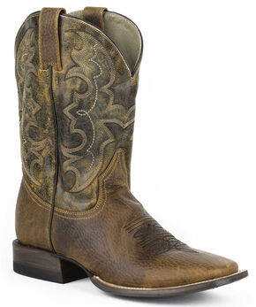 Stetson Bart Cowboy Boots - Square Toe, Brown, hi-res