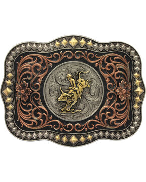 Montana Silversmiths Men's Tri-Colored Diamond Trim Scalloped Bull Rider Attitud, Multi, hi-res
